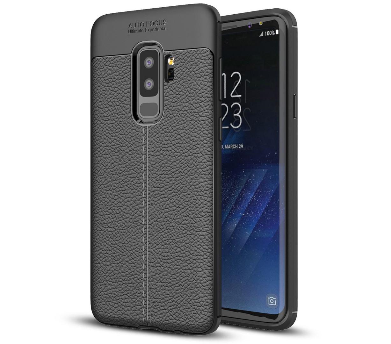 Husa silicon + TPU cu model piele, back cover, Samsung Galaxy S9 Plus - CaseME, Negru
