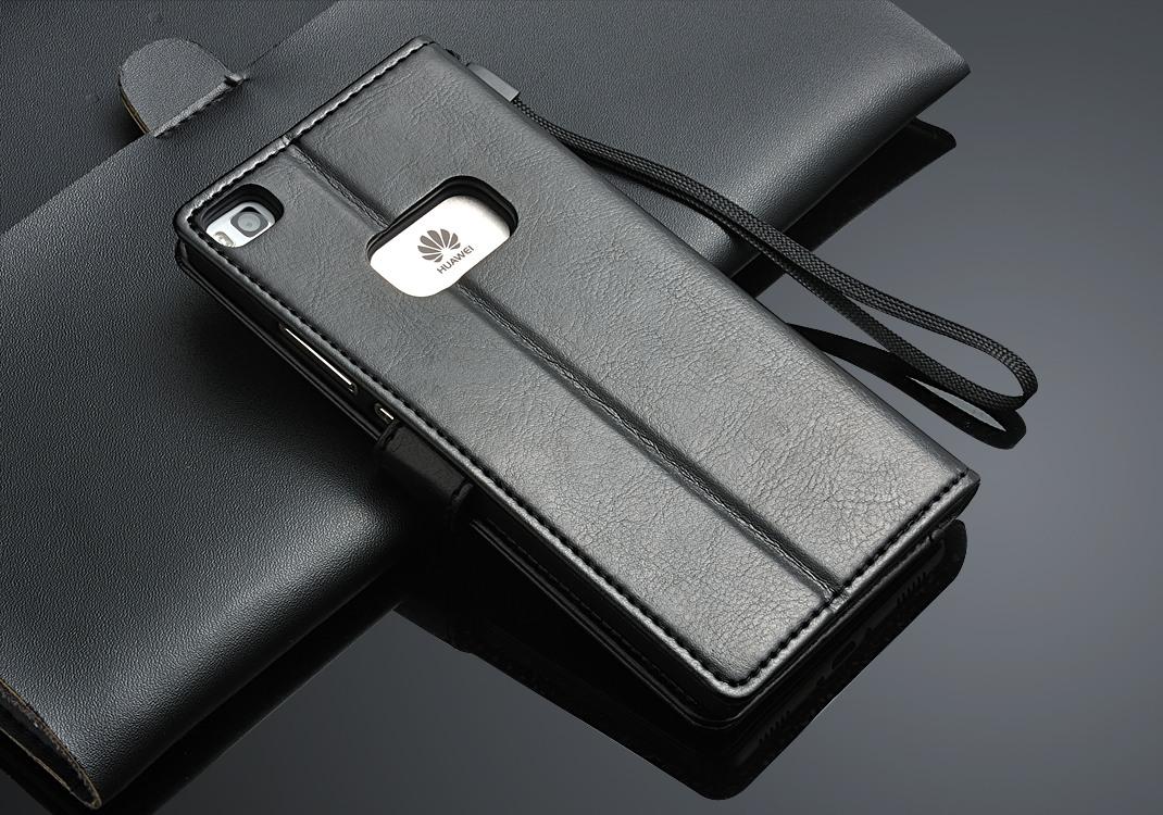 Husa piele fina, tip carte, functie stand, Huawei Ascend P8 - CaseMe, Negru