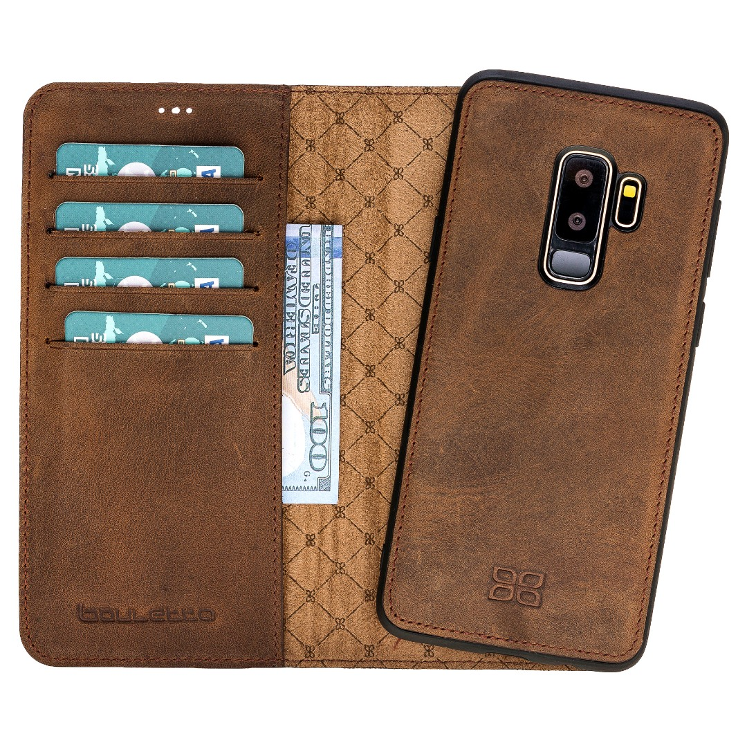 Husa piele naturala 2in1, portofel + back cover, Samsung Galaxy S9 Plus, Bouletta Magic Wallet, Antique coffee