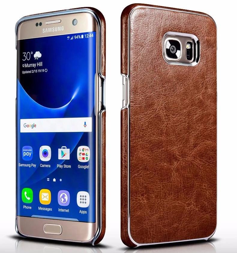 Husa piele, cu ornamente, tip back cover, Samsung Galaxy S7 Edge - Xoomz Platinum, Maro coniac