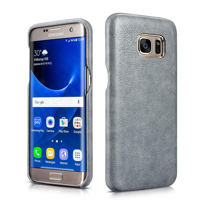 Husa din piele, tip back cover, Samsung Galaxy S7 Edge - Xoomz by iCarer Liquid, Gri