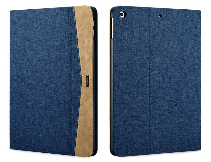 Husa slim din material textil, smart cover, functie stand, iPad 9.7 (iPad 6 / iPad 5) - Xoomz by iCarer Fabric, Albastru