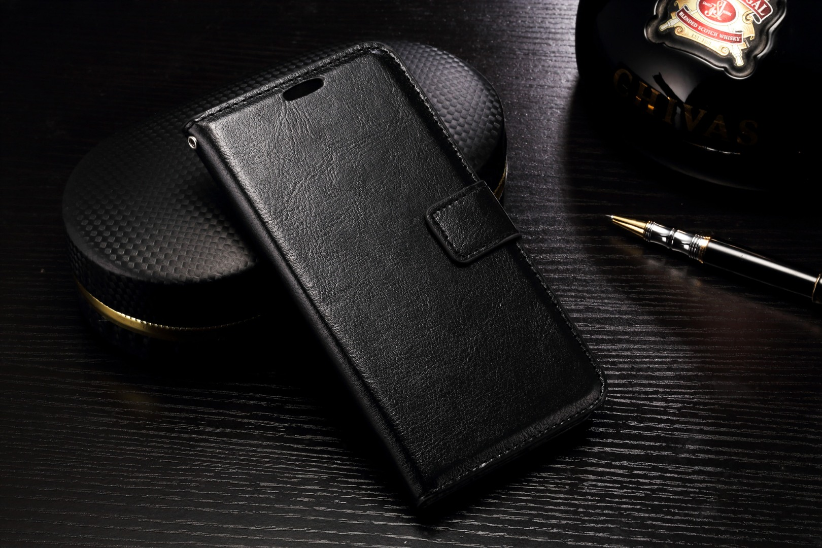Husa piele fina, tip carte, functie stand, LG G5 - CaseMe, Negru