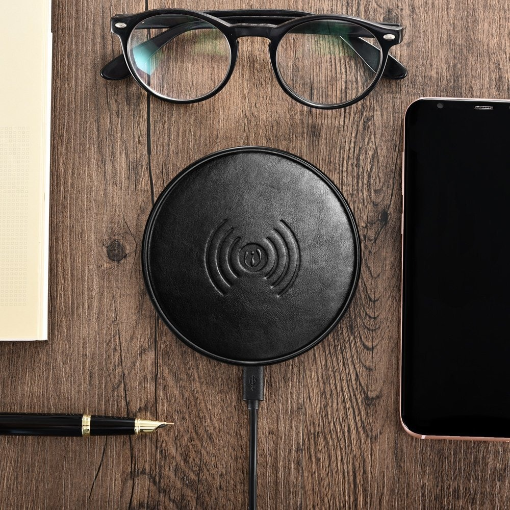 Incarcator wireless slim, elegant, piele naturala - iCarer, Negru