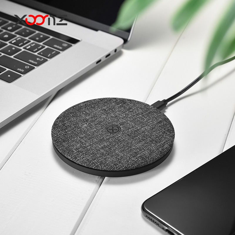 Incarcator rapid wireless, pad textil, cu cablu Type C detasabil, Xoomz by iCarer Fabric, Negru