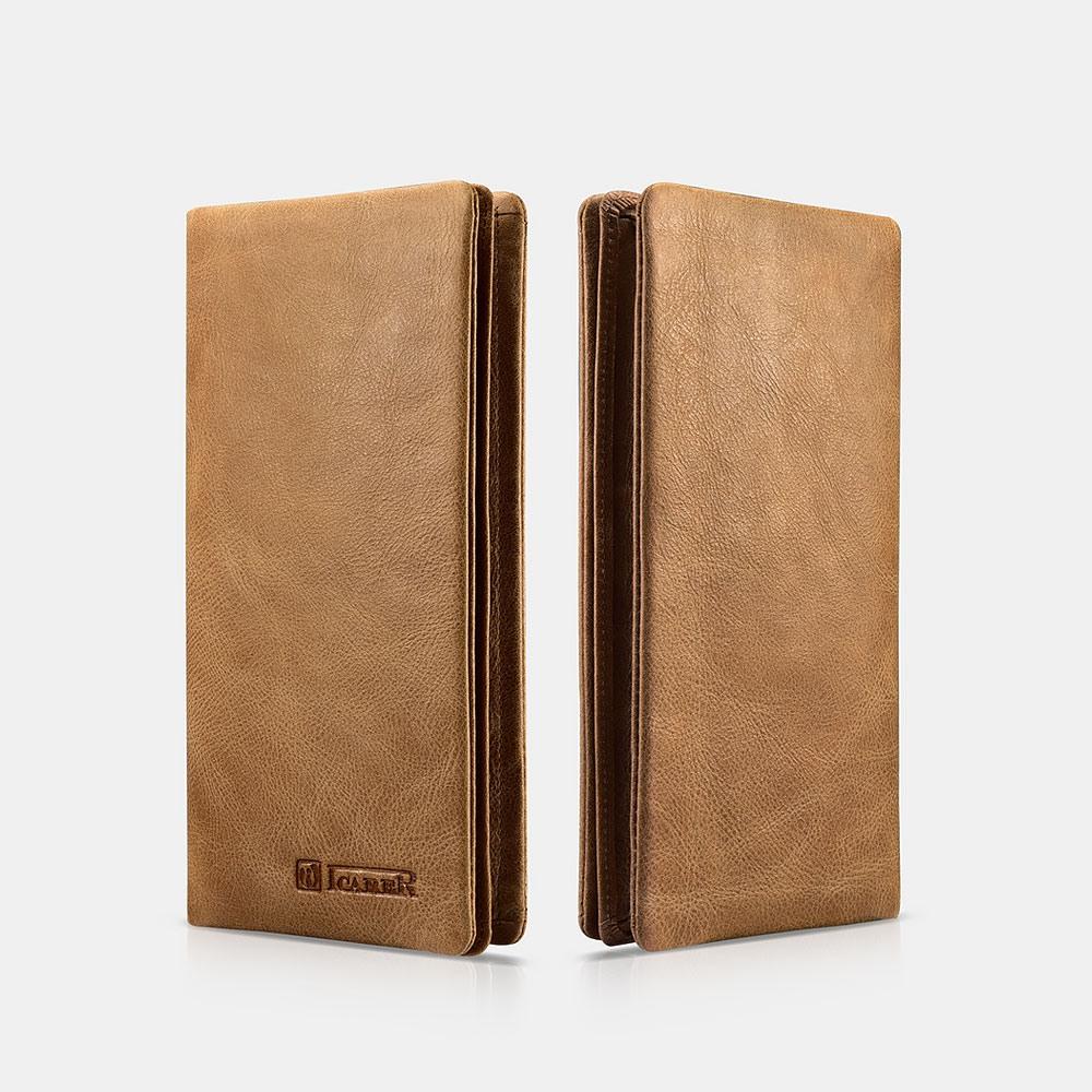 Portofel din piele naturala moale, multiple functionalitati, suport telefon, carduri, bancnote - iCarer, Maro camel