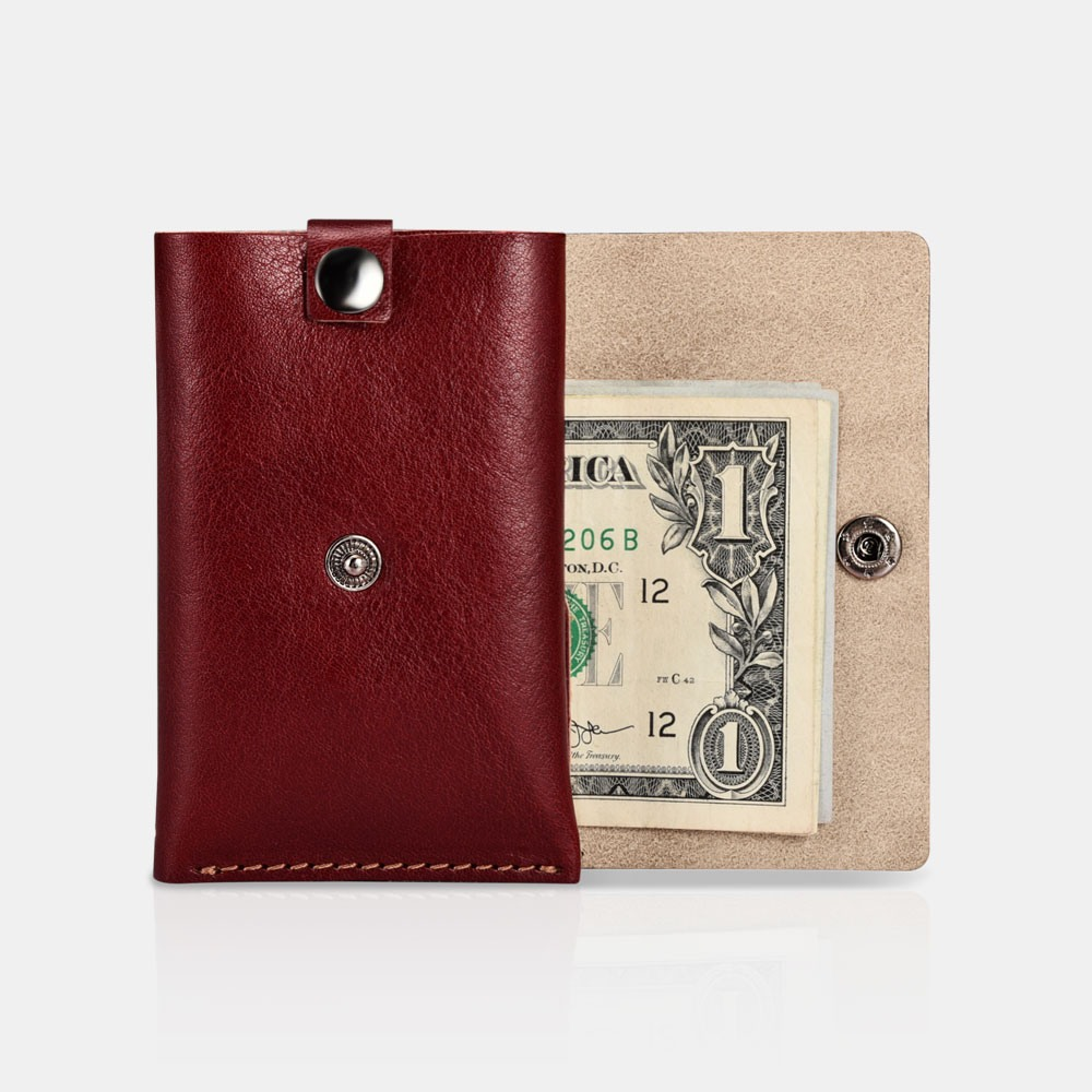 Portofel slim din piele naturala + piele intoarsa, carduri si bancnote, design minimalist - iCarer, Rosu burgund