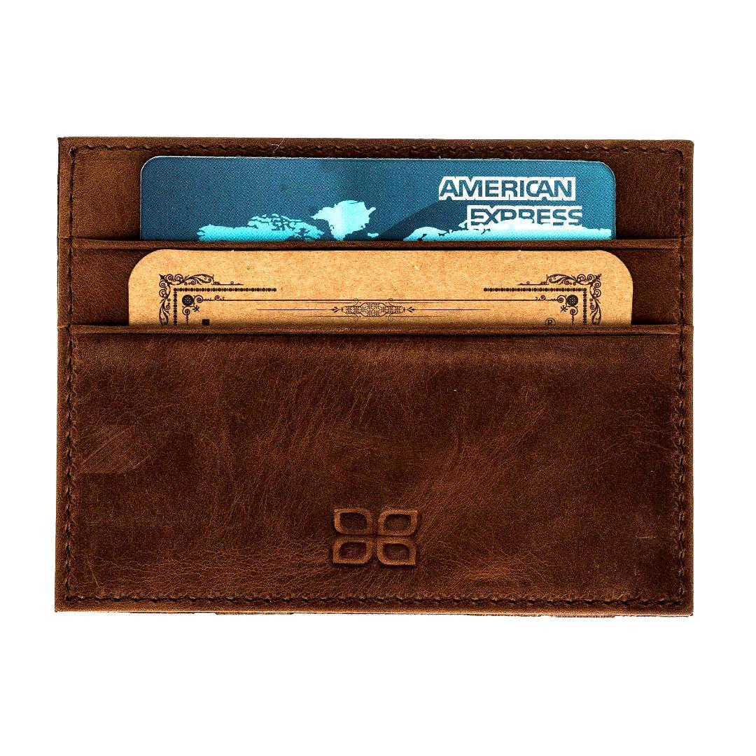 Portofel slim din piele naturala premium, suport carduri, bancnote - Bouletta, Antique brown