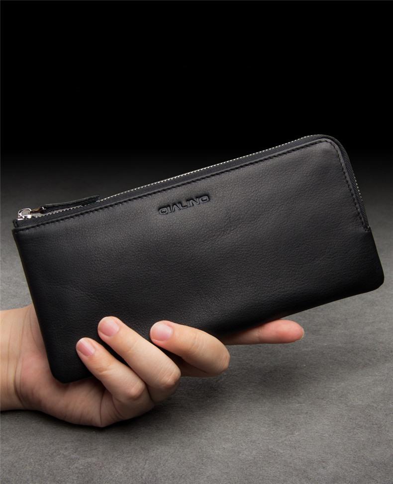 Portofel / Husa universala din piele naturala pentru telefoane pana 175mm - Qialino Zip Wallet, Negru