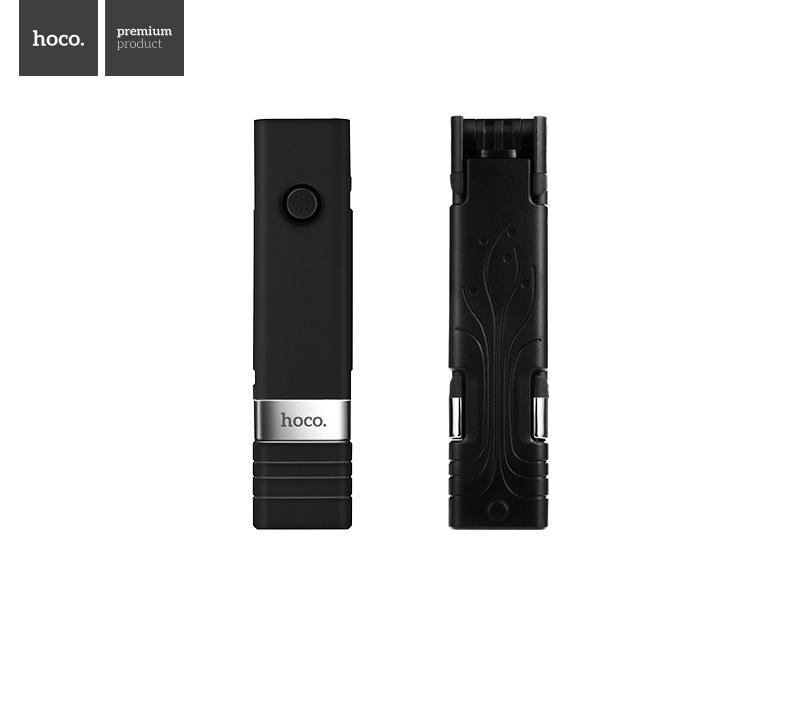 Selfie stick cu bluetooth, extensibil, wireless, cu buton declansare foto / video - Hoco, Negru