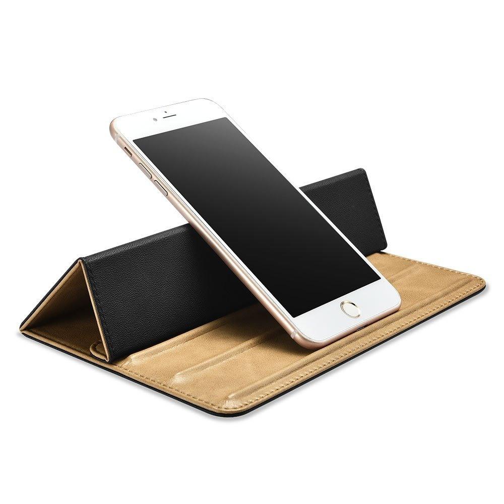 Stand universal din piele pentru telefon, tableta, laptop - iCarer, Maro camel