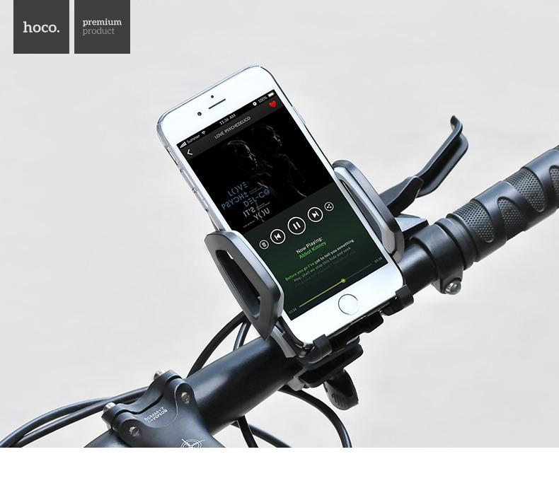 Suport universal pentru telefon / GPS / Tracker, montare pe ghidon - Hoco, Gri