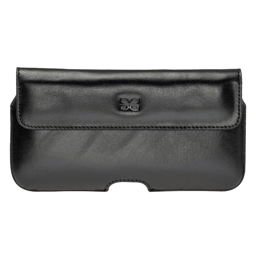 Toc din piele naturala pentru curea, telefoane pana la 163mm - Bouletta, Rustic black