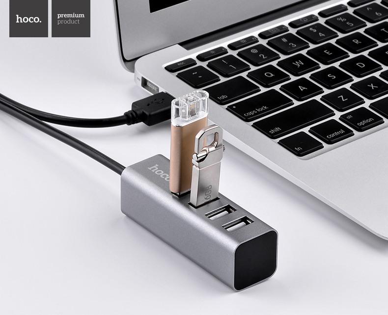 Adaptor / Hub OTG 4 porturi USB suplimentare pentru desktop, laptop cu cablu 80cm - Hoco, Space grey