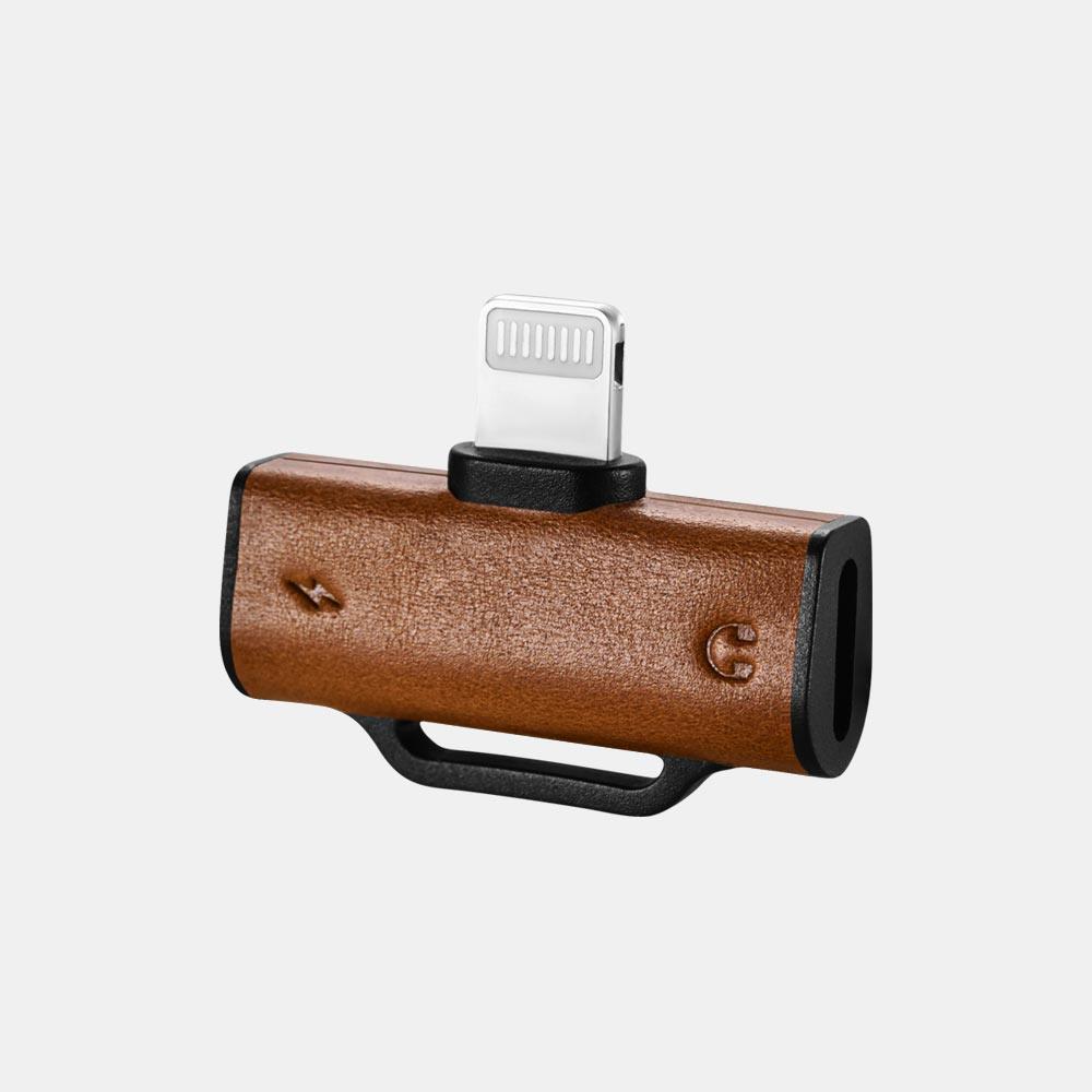 Adaptor / Splitter cu doua mufe lightning pentru casti + incarcare simultana, aluminiu + piele naturala - iCarer Vintage, Negru