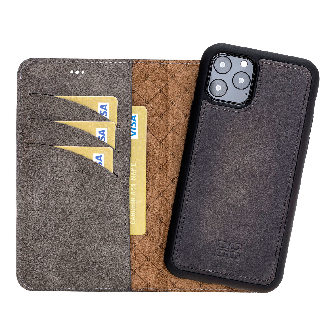Husa piele naturala 2 in 1, tip portofel + back cover, iPhone 11 Pro Max - Bouletta Magic Wallet, Tiana grey