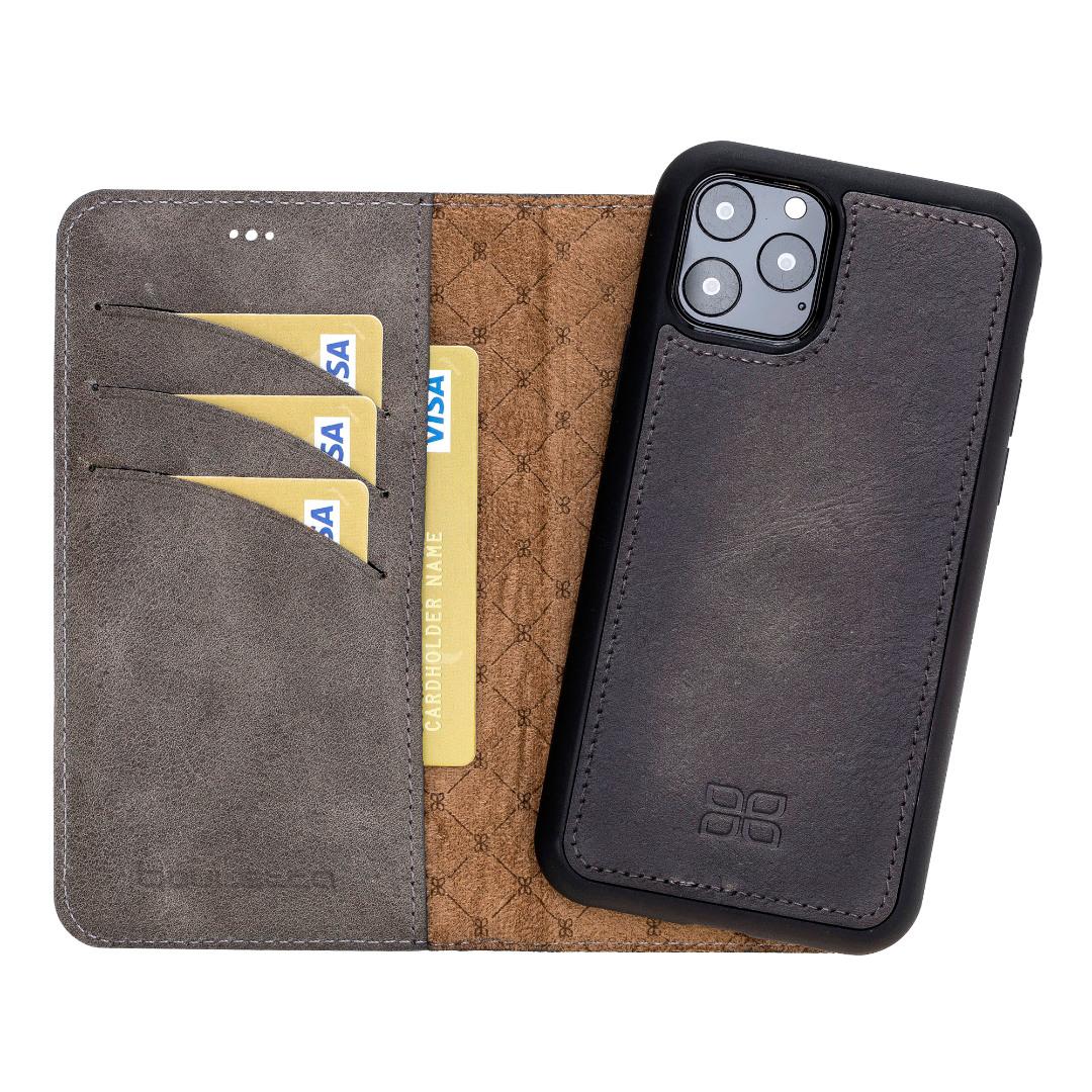 Husa piele naturala 2 in 1, tip portofel + back cover, iPhone 11 Pro - Bouletta Magic Wallet, Tiana grey