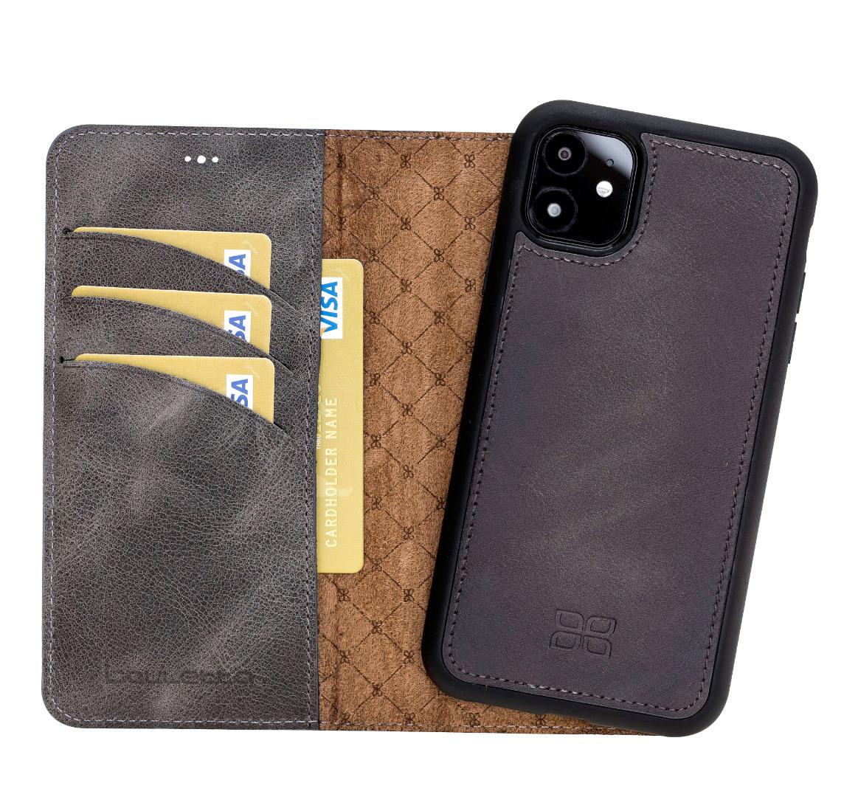 Husa piele naturala 2 in 1, tip portofel + back cover, iPhone 11 - Bouletta Magic Wallet, Tiana grey
