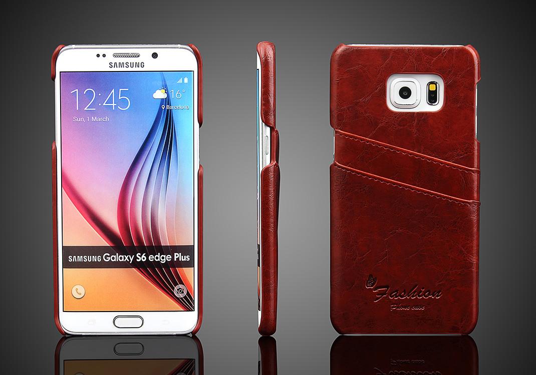 Husa slim din piele fina cu textura vintage, tip back cover, Samsung Galaxy S6 Edge Plus - CaseMe, Maro coniac