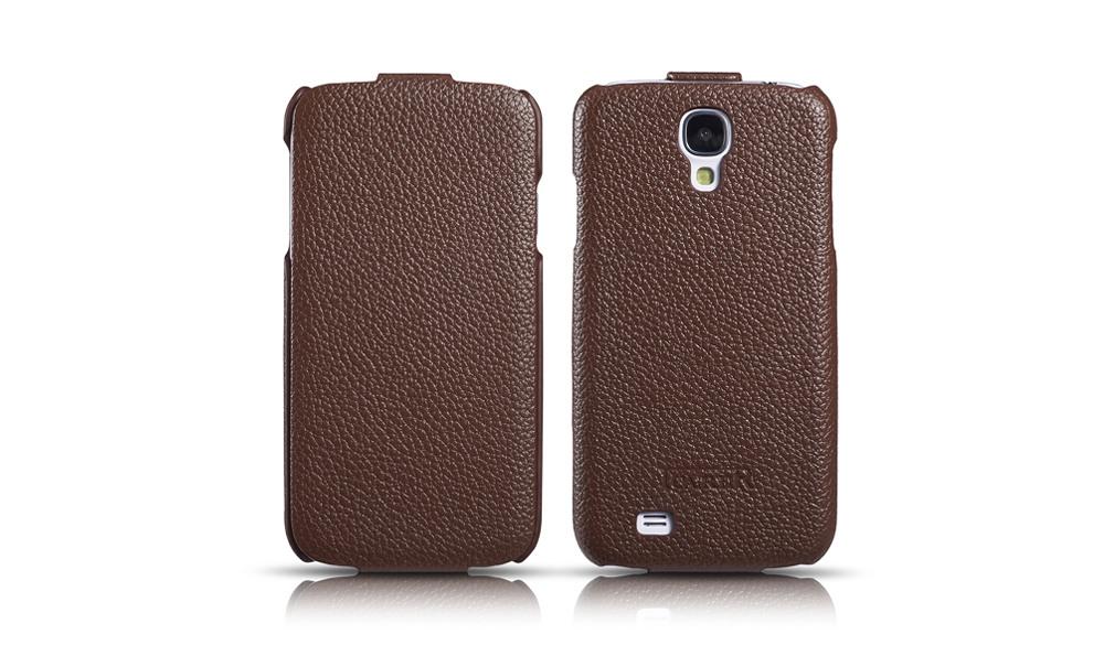 Husa din piele naturala, flip cover, Samsung Galaxy S4 - iCarer Litchi, Maro coffee