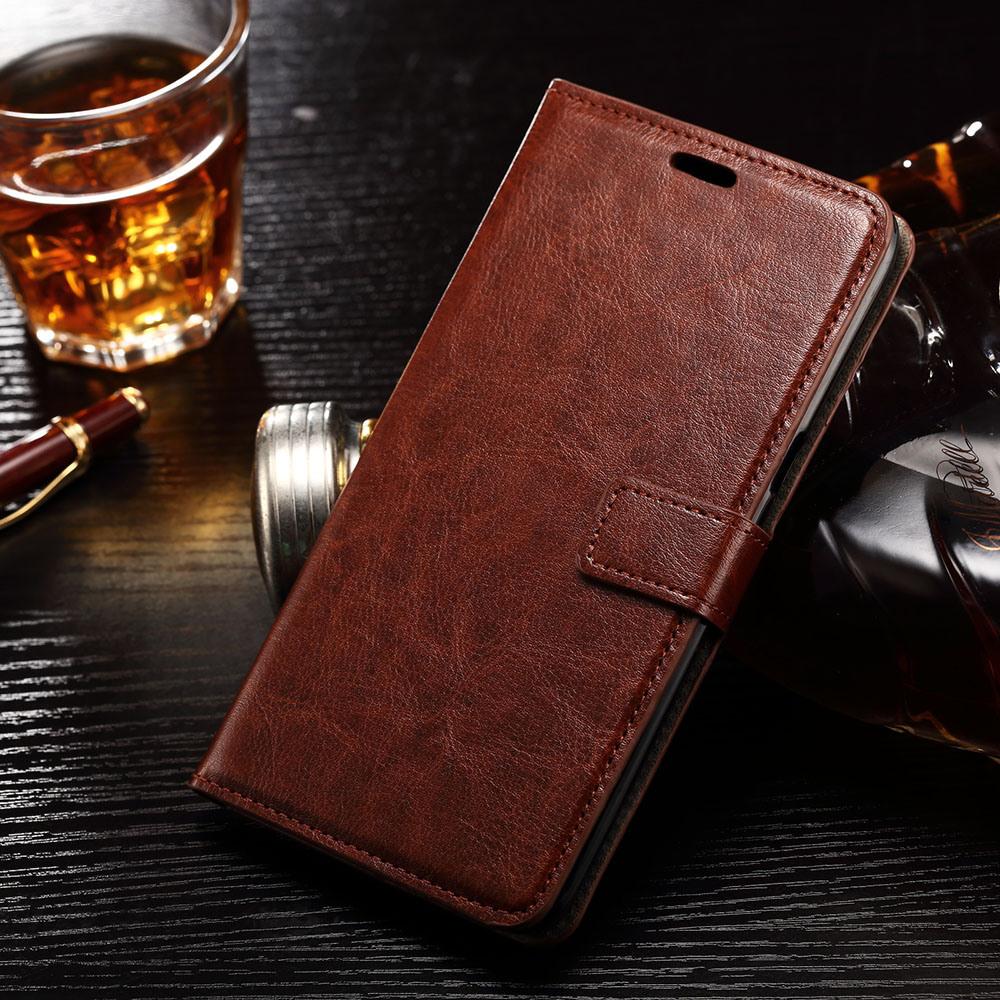 Husa piele fina, tip portofel, inchidere magnetica, stand, suport silicon, Samsung Galaxy S6 Edge - CaseMe, Maro coniac