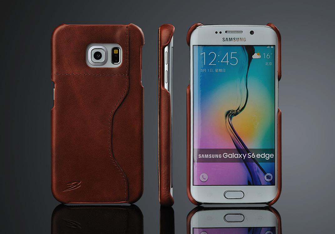 Husa slim din piele, tip back cover, cu locas pentru card, Samsung Galaxy S6 Edge - CaseMe, Maro