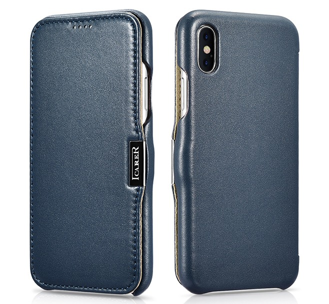 Husa piele naturala, tip carte, inchidere magnetica, iPhone XS Max - iCARER Luxury Side Open, Albastru