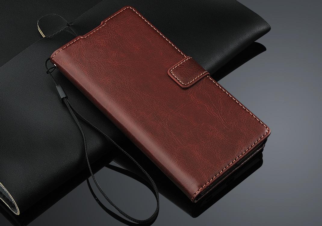 Husa piele fina, tip carte, functie stand, Sony Xperia Z5 - CaseMe, Maro coniac