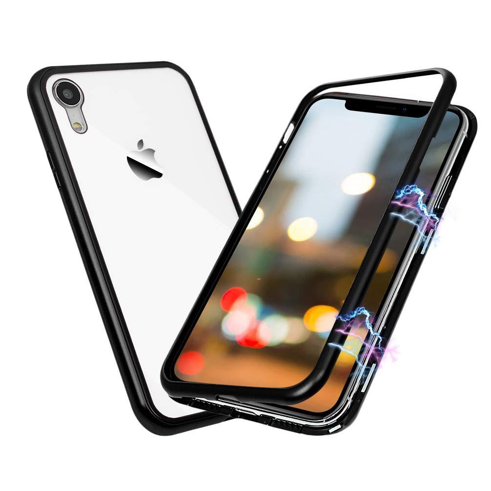 Husa tip bumper magnetic din aluminiu usor + folie sticla securizata spate, iPhone XR - CaseMe, Negru