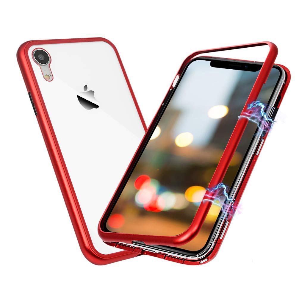Husa tip bumper magnetic din aluminiu usor + folie sticla securizata spate, iPhone XR - CaseMe, Rosu