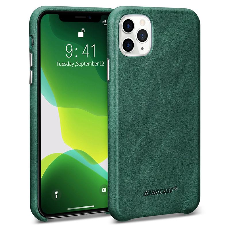 Husa slim din piele naturala, fara clapeta, iPhone 11 Pro Max - Jison Case Classic, Verde inchis