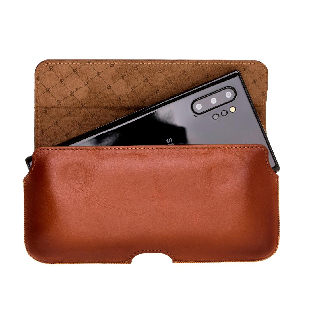 Toc din piele naturala pentru curea, telefoane pana la 172mm - Bouletta, Burnished tan