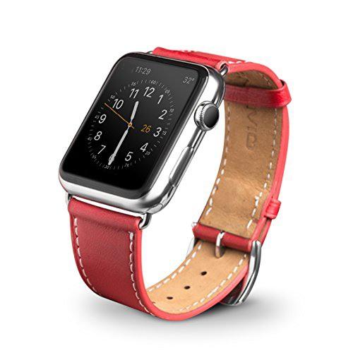 Curea moale din piele de vitel, Apple Watch Series SE, 6, 5, 4 - 40mm, 1, 2, 3 - 38mm, Qialino Classic, Rosu