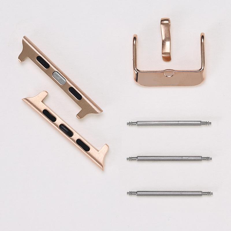 Adaptor, conector, catarama otel inoxidabil, Apple Watch SE, 6, 5, 4 - 44mm, 1, 2, 3 - 42mm Bouletta, Rose gold