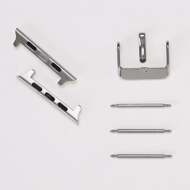 Adaptor, conector, catarama otel inoxidabil, Apple Watch SE, 6, 5, 4 - 44mm, 1, 2, 3 - 42mm Bouletta, Silver