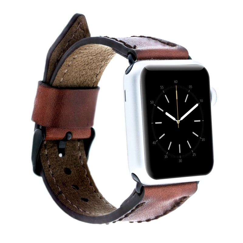 Curea piele naturala premium, cusaturi laterale, adaptori negri, Apple Watch SE, 6, 5, 4 - 44mm, 1, 2, 3 - 42mm - Bouletta, Dark brown