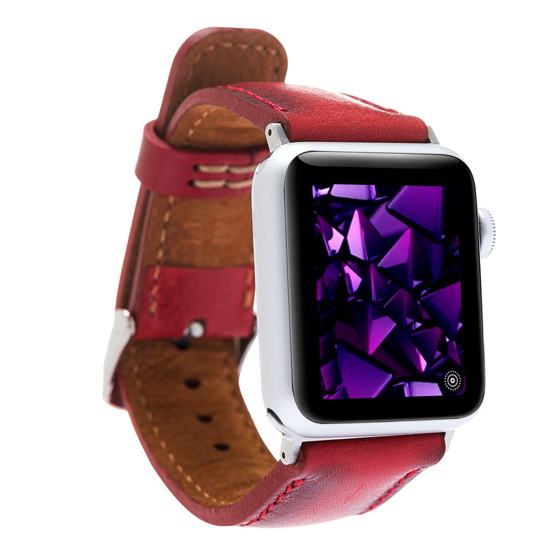 Curea piele naturala premium, adaptori negri, Apple Watch 5, 4 - 44mm, 1, 2, 3 - 42mm - Bouletta, Burnished red