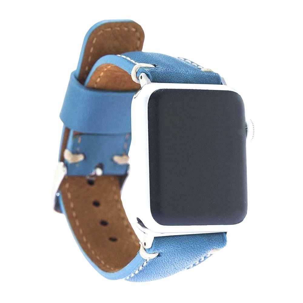 Curea piele naturala premium, detalii cusaturi, adaptori negri, Apple Watch SE, 6, 5, 4 - 44mm, 1, 2, 3 - 42mm - Bouletta, Blue