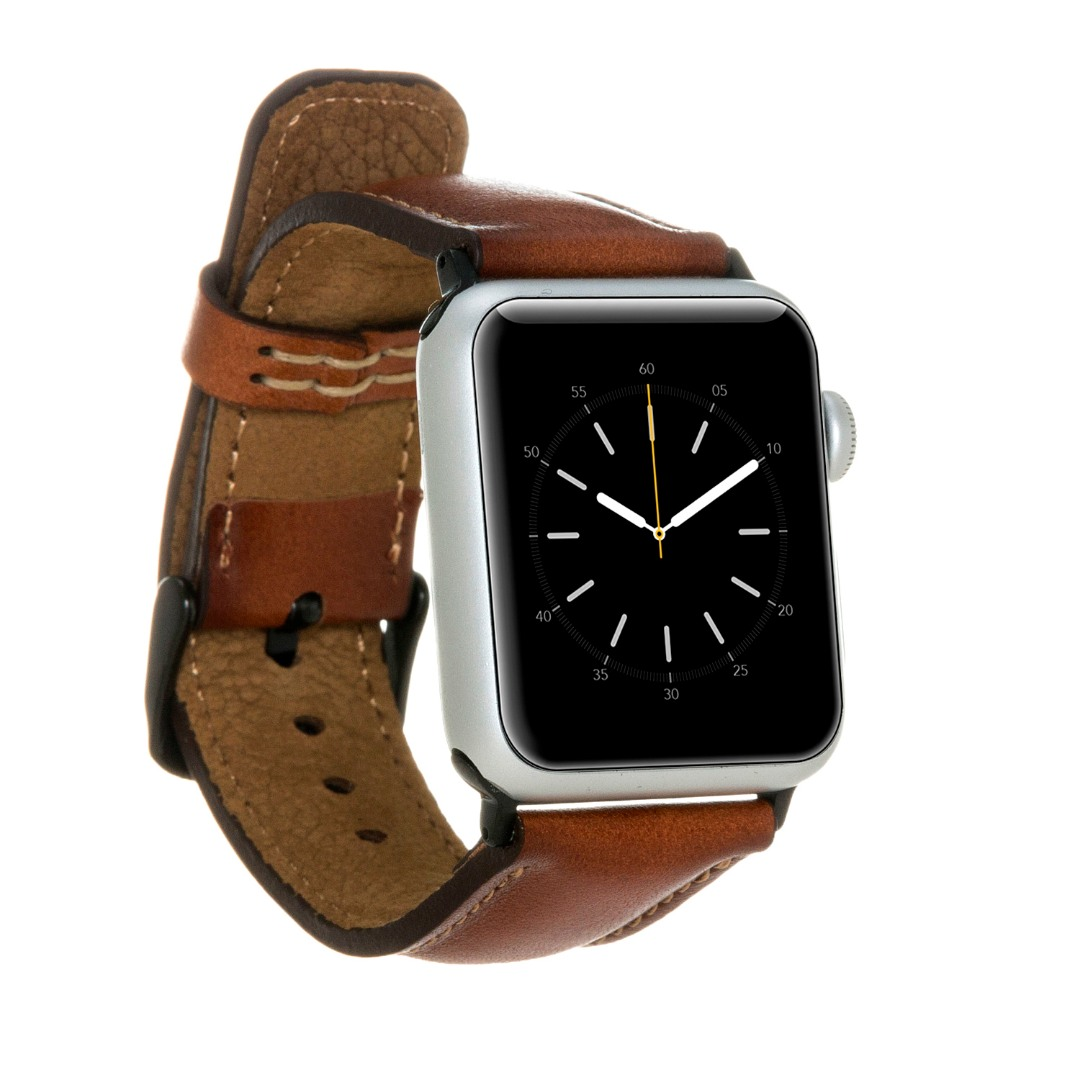 Curea piele naturala premium, adaptori negri, Apple Watch SE, 6, 5, 4 - 44mm, 1, 2, 3 - 42mm - Bouletta, Burnished tan