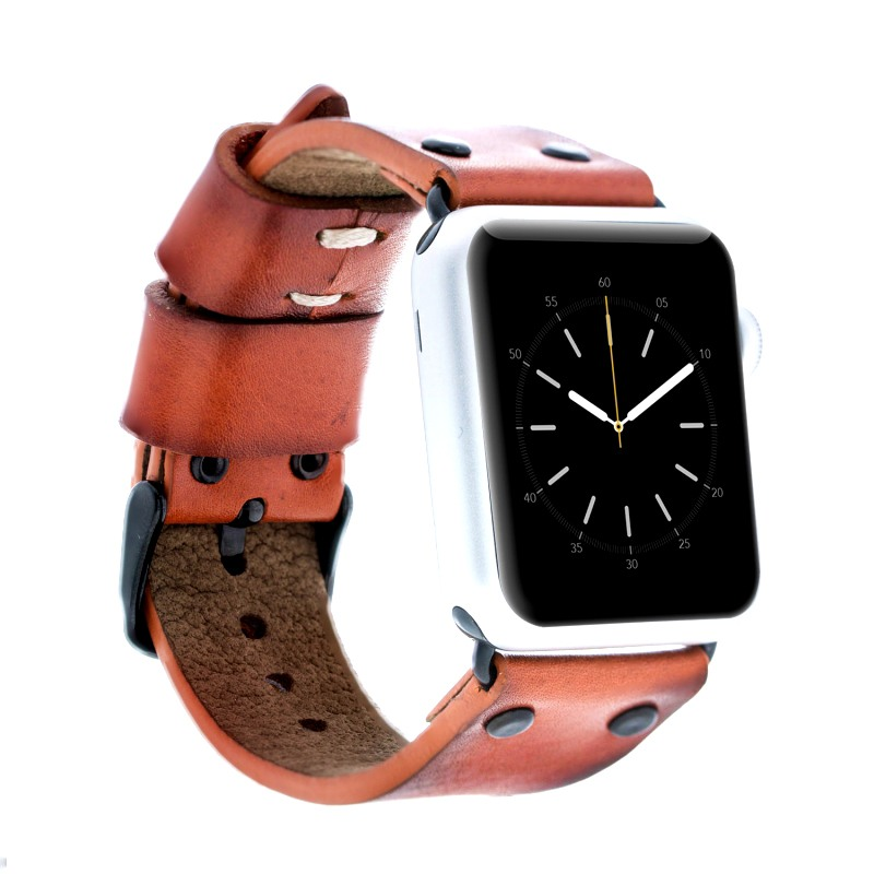 Curea piele naturala premium, adaptori negri, Apple Watch SE, 6, 5, 4 - 44mm, 1, 2, 3 - 42mm - Bouletta, Dark orange