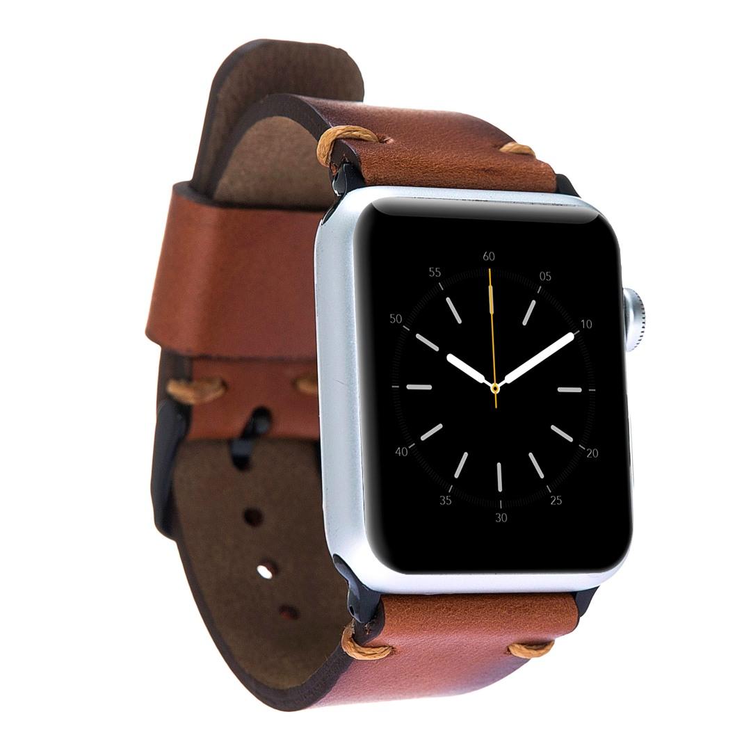 Curea piele naturala premium, detalii cusaturi, adaptori negri, Apple Watch 5, 4 - 44mm, 1, 2, 3 - 42mm - Bouletta, Burnished tan