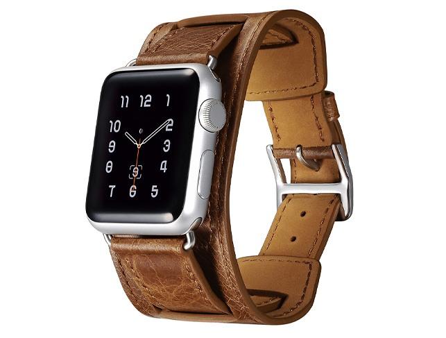 Curea 3 in 1 piele naturala, Apple Watch SE, 6, 5, 4 - 44mm, 1, 2, 3 - 42mm, iCarer Classic, Maro