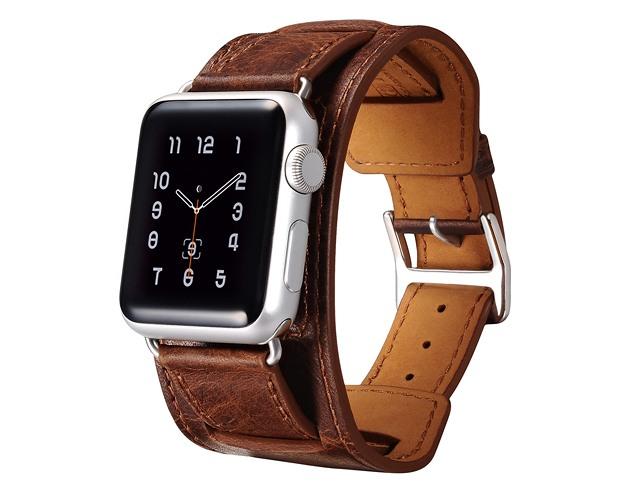 Curea 3 in 1 piele naturala, Apple Watch SE, 6, 5, 4 - 44mm, 1, 2, 3 - 42mm, iCarer Classic, Maro coffee