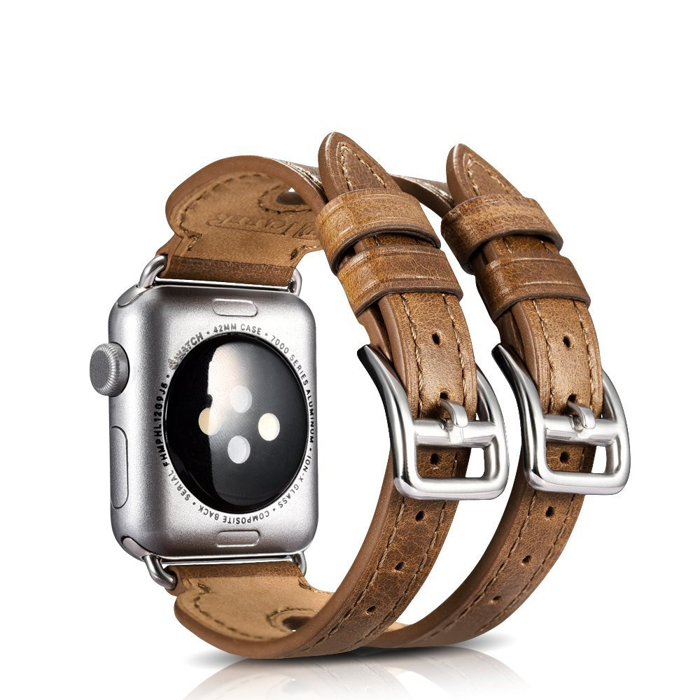 Curea din piele naturala Apple Watch Series 5, 4 - 44mm, 1, 2, 3 - 42mm - iCarer Double Buckle Cuff, Maro