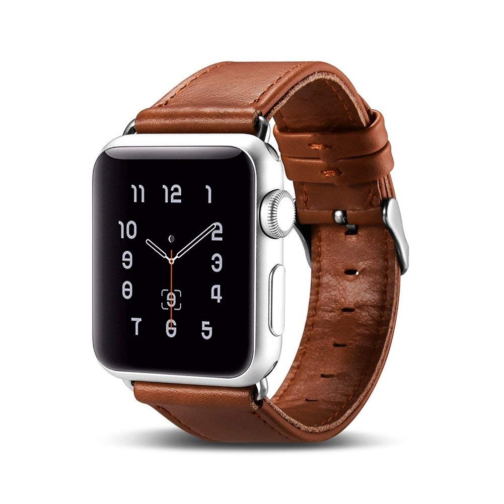 Curea din piele naturala Apple Watch SE, 6, 5, 4 - 40mm, 1, 2, 3 - 38mm - iCarer, Maro coniac