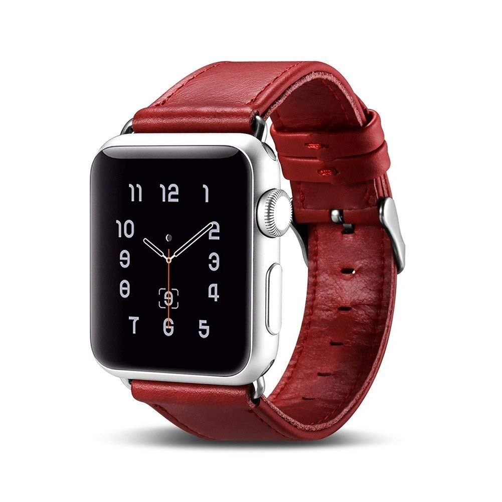 Curea din piele naturala Apple Watch SE, 6, 5, 4 - 44mm, 1, 2, 3 - 42mm - iCarer, Rosu burgund