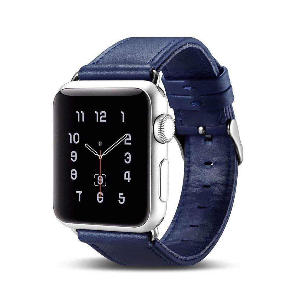 Curea din piele naturala Apple Watch SE, 6, 5, 4 - 40mm, 1, 2, 3 - 38mm - iCarer, Albastru