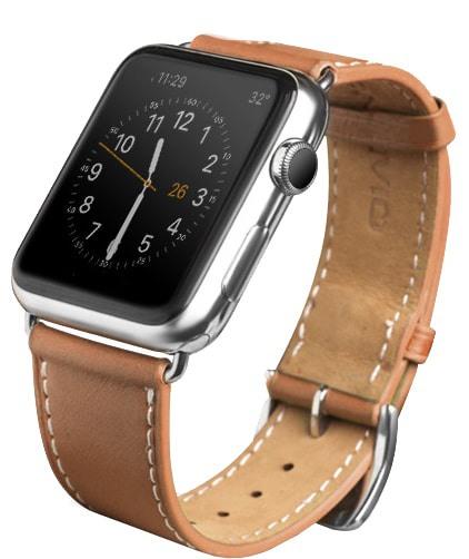Curea moale din piele de vitel, Apple Watch Series 5, 4 - 44mm, 1, 2, 3 - 42mm, Qialino Classic, Maro tabac