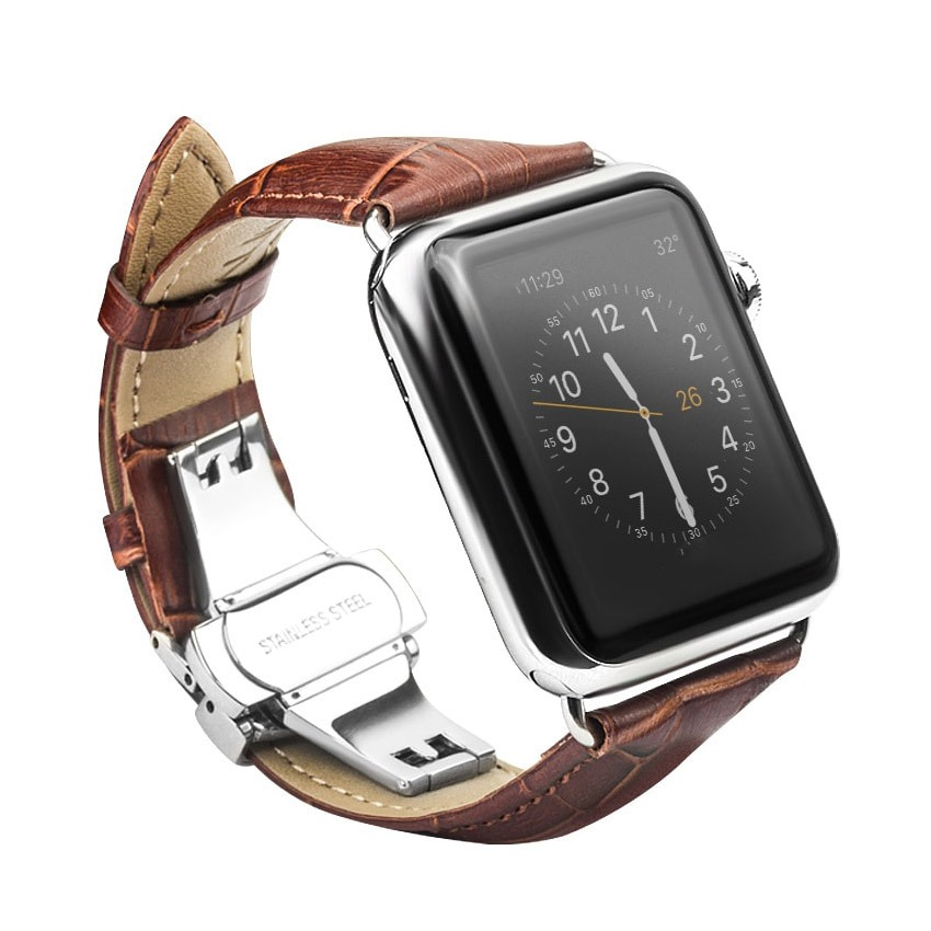 Curea din piele naturala cu aspect crocodil, Apple Watch Series SE, 6, 5, 4 - 44mm, 1, 2, 3 - 42mm, Qialino Croco, Maro coffee