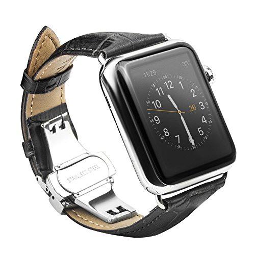 Curea din piele naturala cu aspect crocodil, Apple Watch Series SE, 6, 5, 4 - 44mm, 1, 2, 3 - 42mm, Qialino Croco, Negru